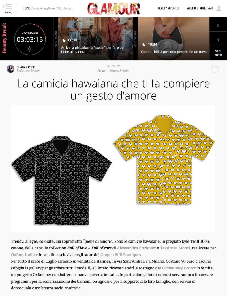 Alessandro Enriquez capsule collection with Tessitura Monti x Oxfam Italia is featured on Glamour Italia